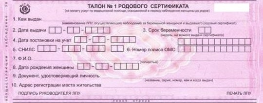 Талон № 1 родового сертификата