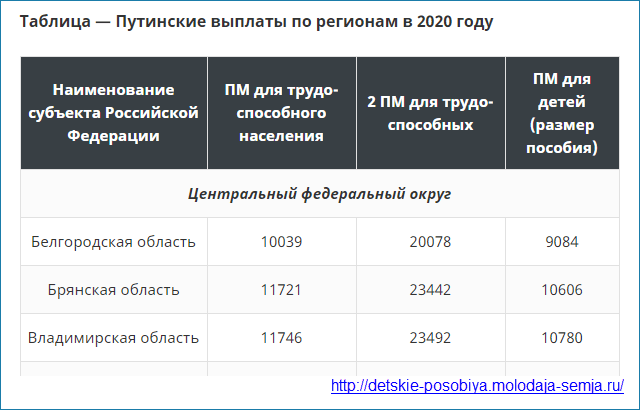 Размер путинских пособий 2020 за 1 и 2 ребенка