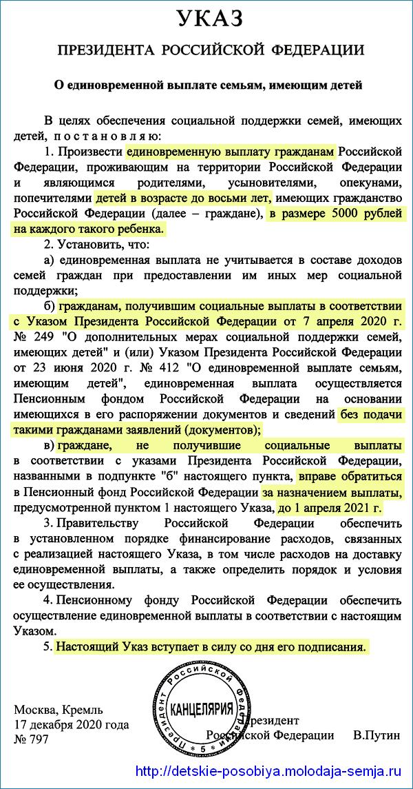Указ Путина о выплате 5000 рублей на детей от 0 до 8 лет в декабре 2020 года