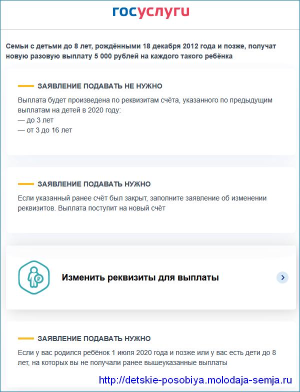 Информация с описанием условий новой выплаты 5000 на портале Госуслуг